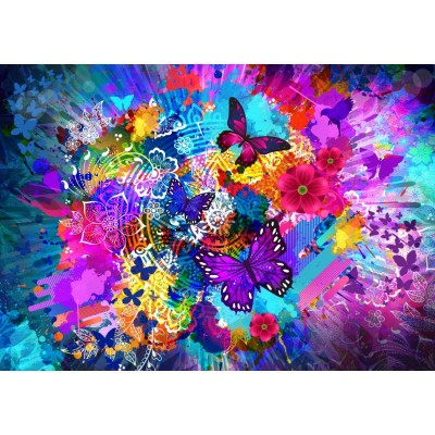 Puzzle Bluebird-Puzzle-70219 Flowers and Butterflies