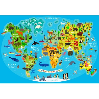 Puzzle Bluebird-Puzzle-70378 World Travel Map