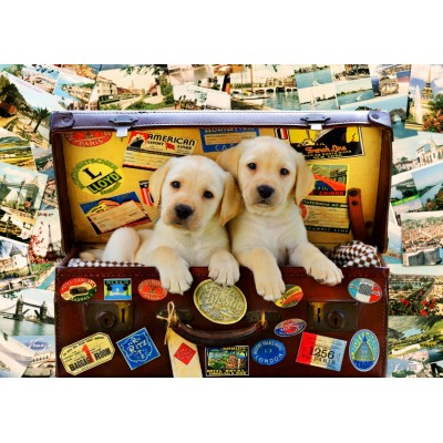 Puzzle Bluebird-Puzzle-70398 Two Travel Puppies